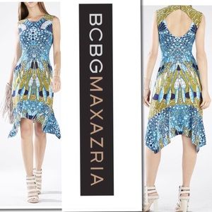 BCBG Maxazria Batik Fans Print Sleeveless Dress M
